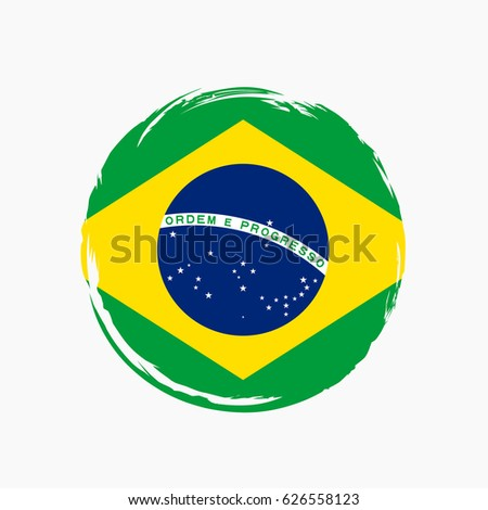 Shutterstock Brasil flag grunge style. Grunge flag of Brasil, vector illustration. Brasil colorful brush strokes painted flag icon. Painted Brasil flag. Brush strokes and ink splatter. Brazilian vector background.