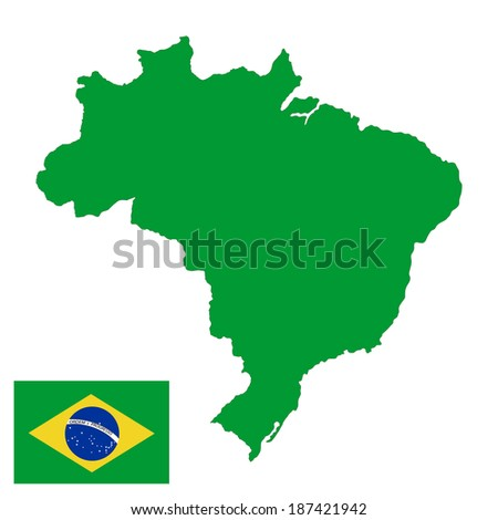 Brasil high detailed green vector map and flag isolated on white background Silhouette illustration