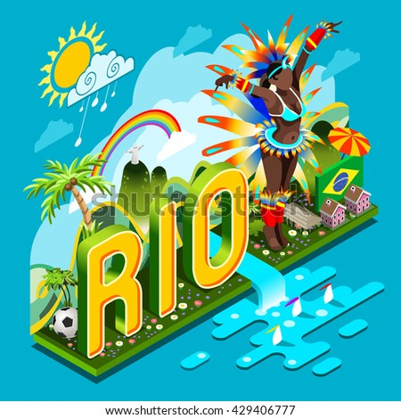 Brasil Rio Summer Games Infographic. World Travel Event for People Smartphone. Sports Recreation Icon. Copacabana Landmark Soccer Signs & Symbol Carnival Brazil Flag. 3D Isometric Vector Illustration