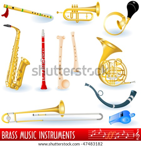 Brass musical instruments collection