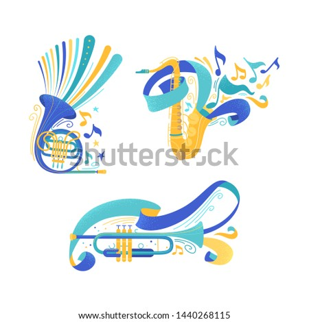 Brass musical instruments flat vector illustrations set. Trumpet and saxophone with ribbons. French horn and sax with notes isolated cliparts pack. Woodwind orchestra equipment design elements