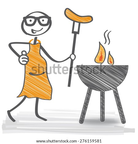Bratwurst Cooking On Grill - vector illustration