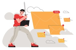 Brave man, office worker, business man fight with spam email messages by protecting his computor with sword. Spamming, email organization or mailbox cleaner concept illustration for web or ui design.