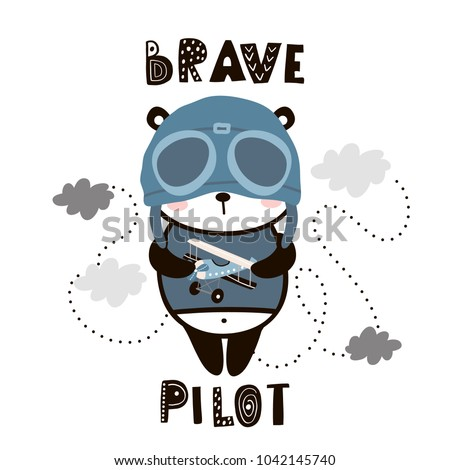 Brave pilot cute panda. Cartoon baby panda . Childish print for nursery, kids apparel,poster, postcard. Vector Illustration