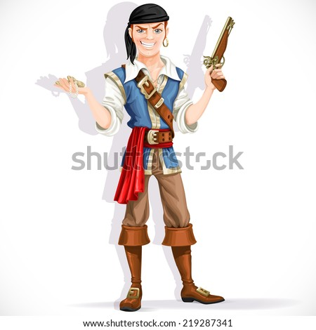Brave pirate with pistol isolated on a white background