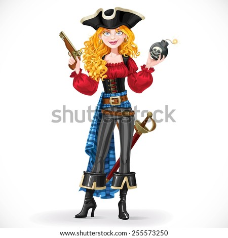 brave red haired pirate girl