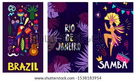 Brazil and Samba lettering. Set of poster templates with hand-drawn vector illustrations on a dark blue background. Bright elements of the festival and Brazilian culture concept.