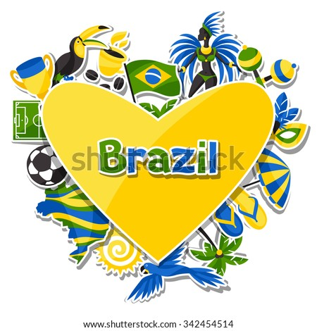 brazil background with sticker