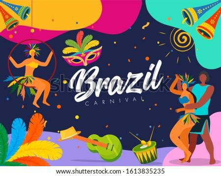Brazil Carnival Celebration Background with Samba Dancers Enjoying and Music Instruments.