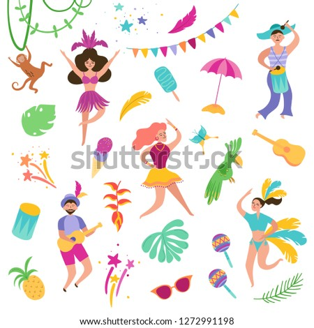 Brazil Carnival Festive Set with Dancing Characters Woman and Man in Traditional Costumes. Brazilian Samba Dancers Rio de Janeiro. Vector illustration