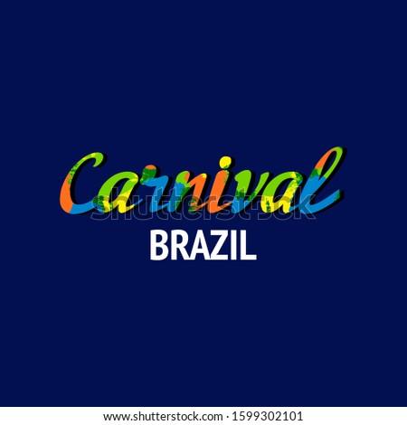 Brazil Carnival. Multicolor Carnival. Lettering.