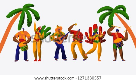 Brazil Carnival Party Character Dance Samba Set. Man Woman Dancer at Brazilian Ethnic Festival Isolated on White Background. Exotic Costume People Collection Flat Cartoon Vector Illustration