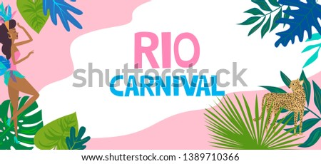 Brazil Carnival poster template with Brazilian samba dancer, tropical plant and leopard. Carnival in Rio de Janeiro with girls wearing a festival costume. Editable vector illustration