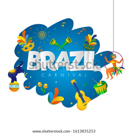 Brazil Carnival Text with Samba Woman, Mask, Circus Elephant and Music Instrument on Abstract Background.
