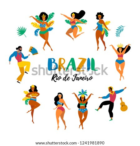 Brazil carnival. Vector illustration of funny dancing men and women in bright costumes. Design elements for carnival concept and other users