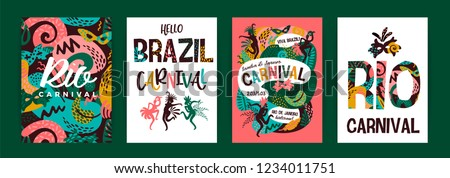 Brazil carnival. Vector templates with trendy abstract elements. Poster design for carnival concept and other users