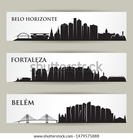 Brazil cities skylines - Fortaleza, Belo Horizonte, Belem - vector illustration