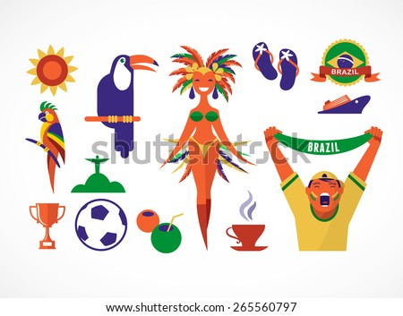 brazil collection of icons and