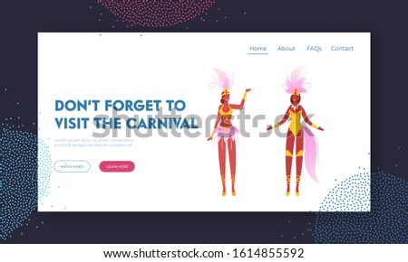 Brazil Culture, Carnival in Rio De Janeiro Website Landing Page. Girls in Festival Costumes with Feather Wings Dancing. Brazilian Samba Dancers Women Web Page Banner. Cartoon Flat Vector Illustration