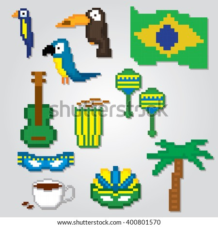 brazil culture symbol set