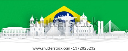 Brazil flag and famous landmarks in paper cut style vector illustration