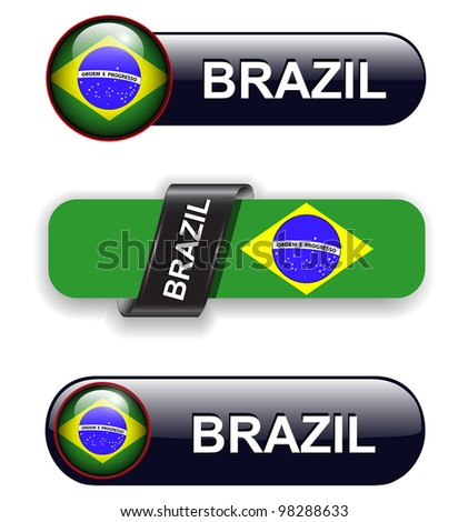 Brazil flag banners, icons theme.