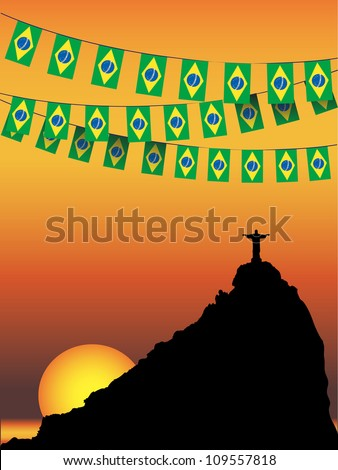 Brazil Flag bunting on Rio De Janeiro sunset background. EPS10 vector format