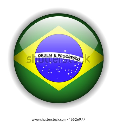 Brazil flag, glossy button, vector