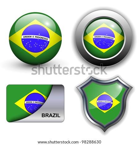 Brazil flag icons theme. - stock vector