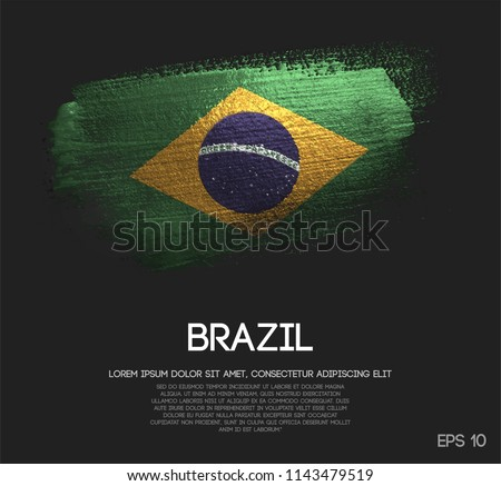 Brazil Flag Made of Glitter Sparkle Brush Paint Vector