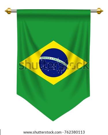 Brazil flag or pennant isolated on white