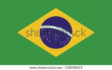 brazil flag over green background vector illustration