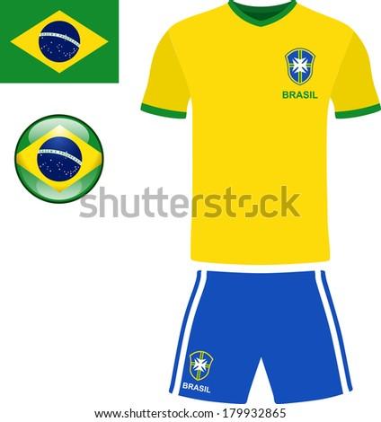 brazil football jersey stock