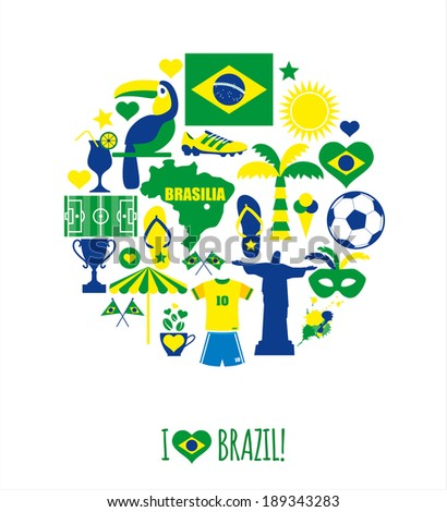 brazil icon set flat design