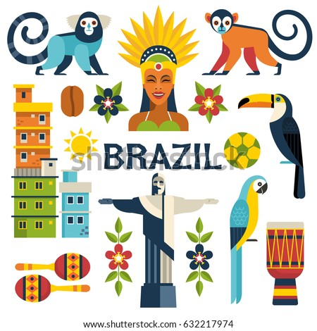 Brazil icons collection. Vector illustration with Brazilian culture and nature icons, including toucan, monkey, woman in carnival costume and shanty towns in trendy flat style. Isolated on white.