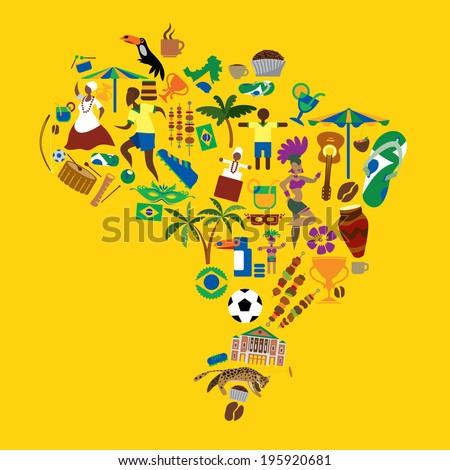 brazil icons  dance  soccer