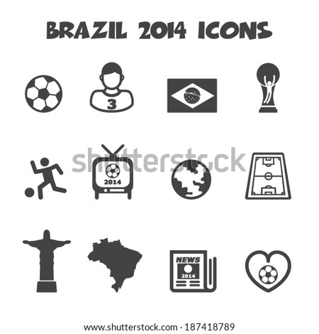 brazil 2014 icons mono vector symbols
