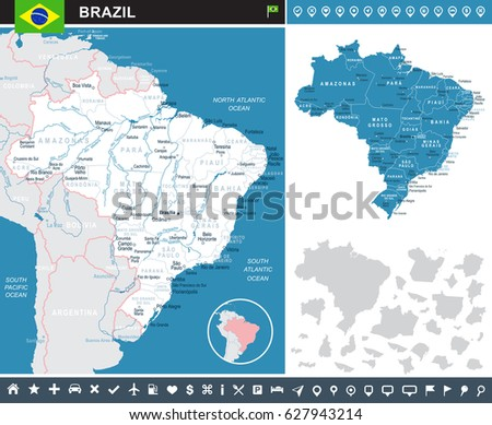 brazil infographic map and flag