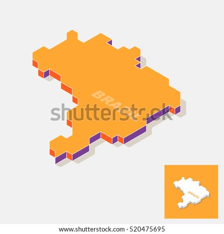 Brazil isometric map isolated on background, vector illustration