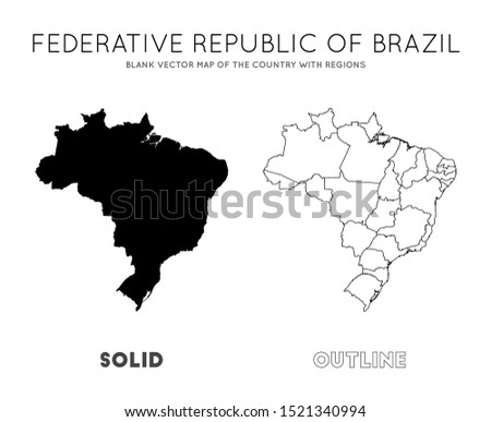 Brazil map. Blank vector map of the Country with regions. Borders of Brazil for your infographic. Vector illustration.