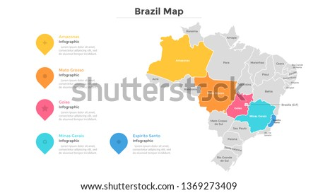 Brazil map divided into provinces or regions with modern borders. Geographic location indication. Infographic design template. Vector illustration for presentation, brochure, touristic website.