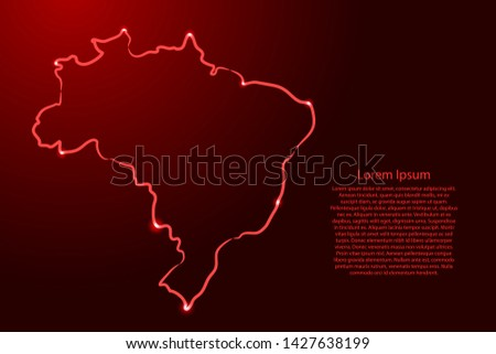 Brazil map from the contour red brush lines and glowing stars on dark background. Vector illustration.