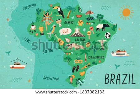 Brazil map hand drawn vector illustration. South America country cultural symbols, tourist attractions. Fauna and flora, national landmarks and travel destinations. Brazil creative educational poster
