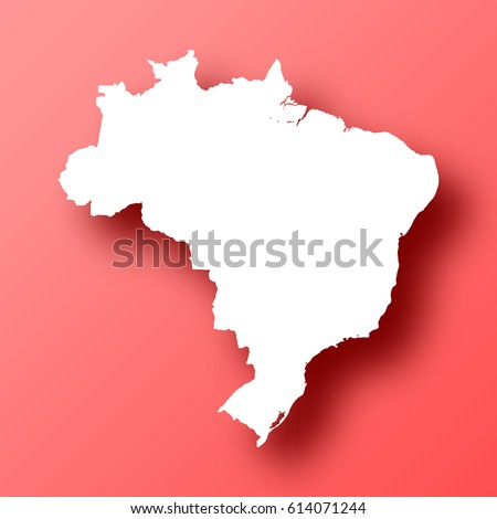 Brazil Map isolated on red background with shadow. High detailed vector map.  Template for your design, website, infographic, brochure, cover, business annual report,...