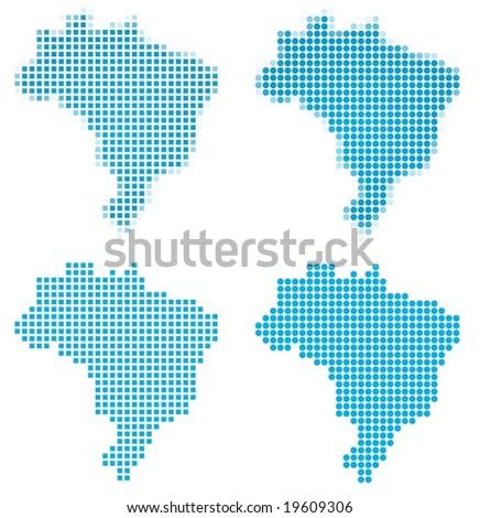 Brazil map mosaic set. Isolated on white background.