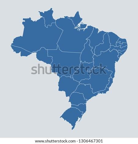 Brazil map on gray background vector, Brazil Map Outline Shape Blue on White Vector Illustration, High detailed Gray illustration map Brazil.