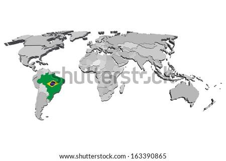 brazil map vector 3d