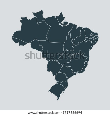 brazil map vector, isolated on gray background