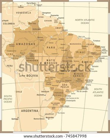 brazil map   vintage detailed...