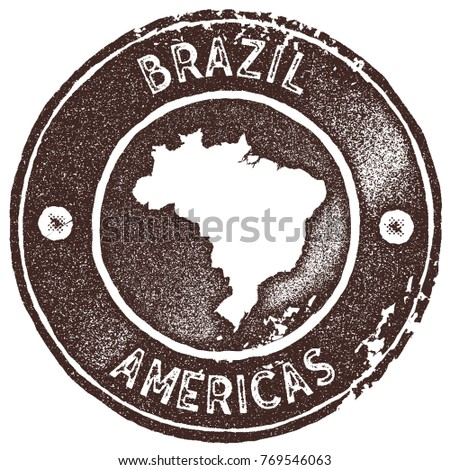 Brazil map vintage stamp. Retro style handmade label, badge or element for travel souvenirs. Brown rubber stamp with country map silhouette. Vector illustration.